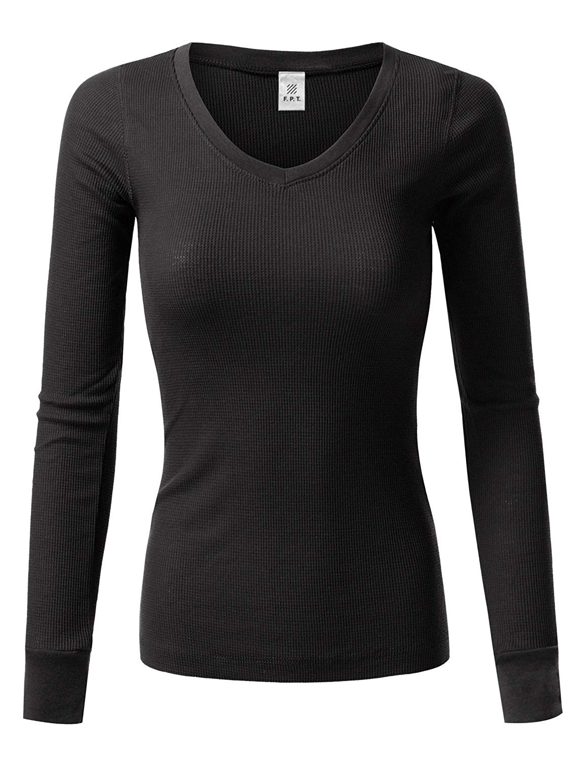 afa0bb76 Get Quotations · Fifth Parallel Threads FPT Women's Basic Crewneck and  V-Neck Long Sleeve Ribbed Thermal Top