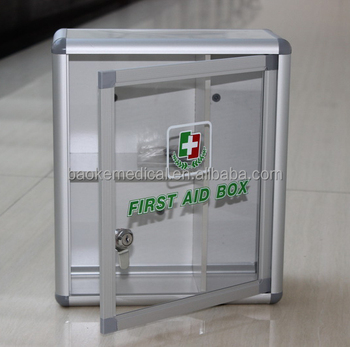 first aid cabinet transparent wall mounting aluminum enterprise use 15455