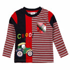 18m-6Y (L82131#RED&NAVY)Export tractor boys cotton long sleeve winter children's striped t-shirt