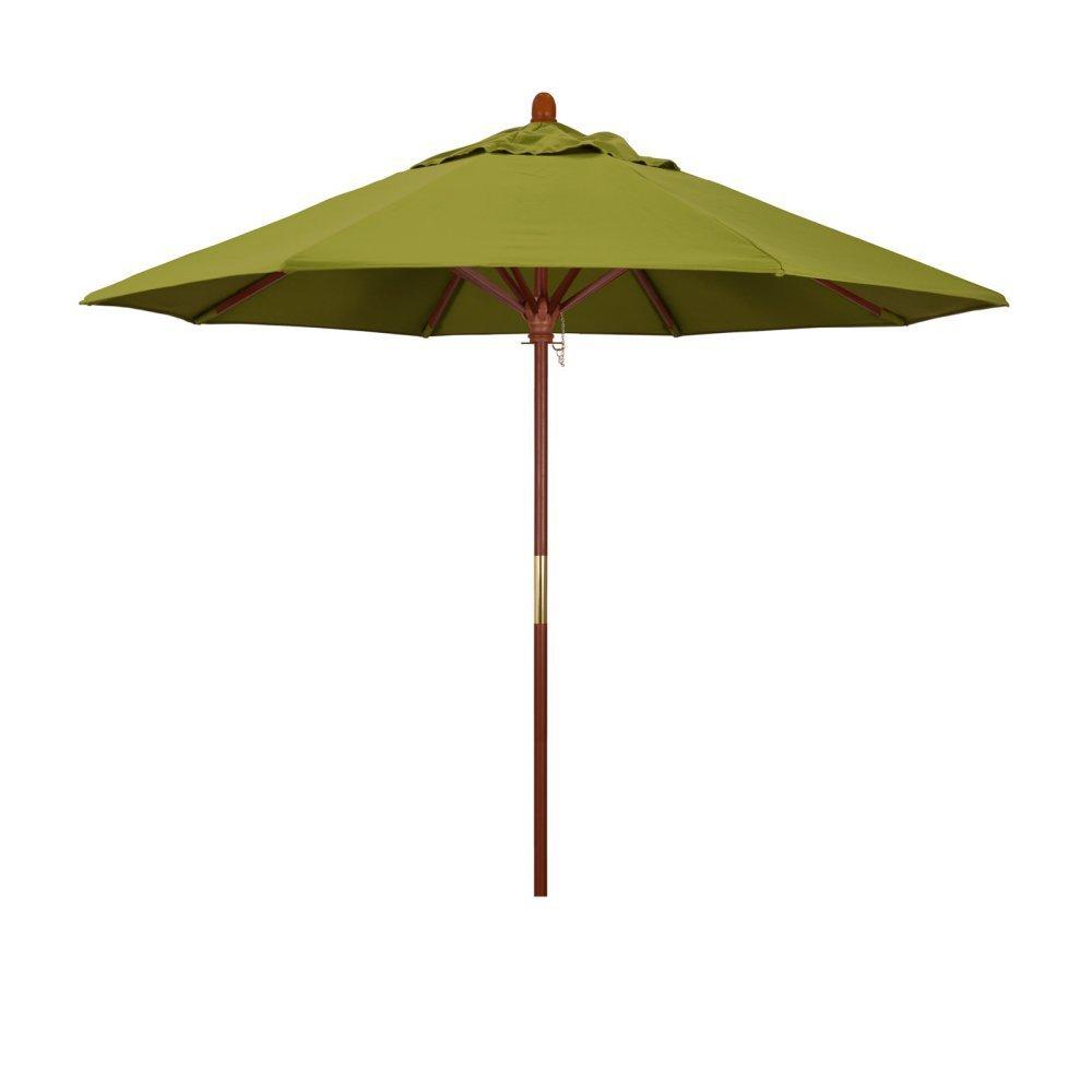 California Umbrella 9' Round Hardwood Frame Market Umbrella, Stainless Steel Hardware, Push Open, Pacifica Ginko