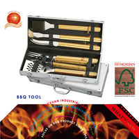 6 PCS BBQ Barbecue Barbeque Tools Set with Aluminum Case Easy Carrying Grilling Accessories