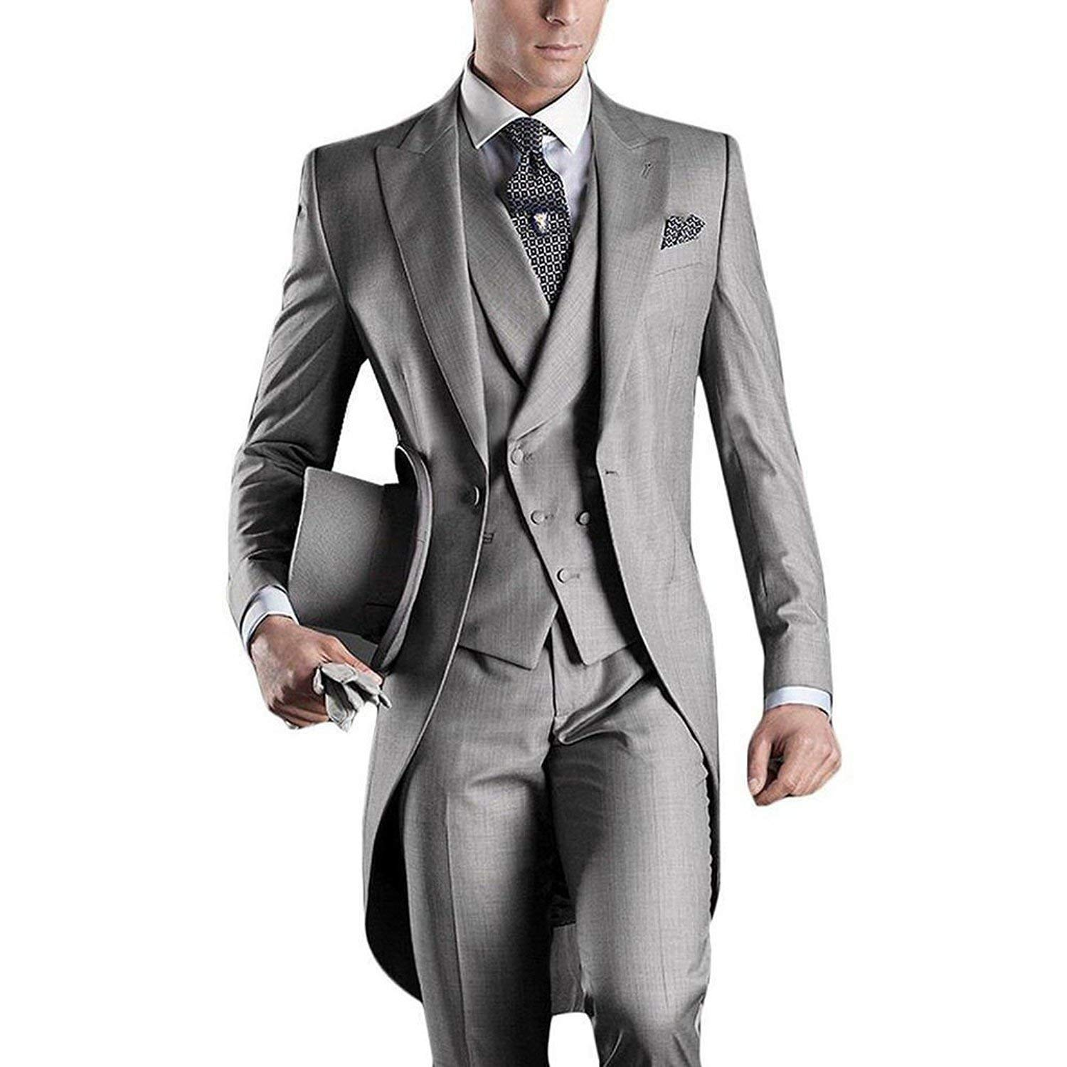 4414b7c0967 JYDress Mens Suit Premium Tail Tuxedo 3pc Tailcoat Suit in Gray Black Suit  Jacket