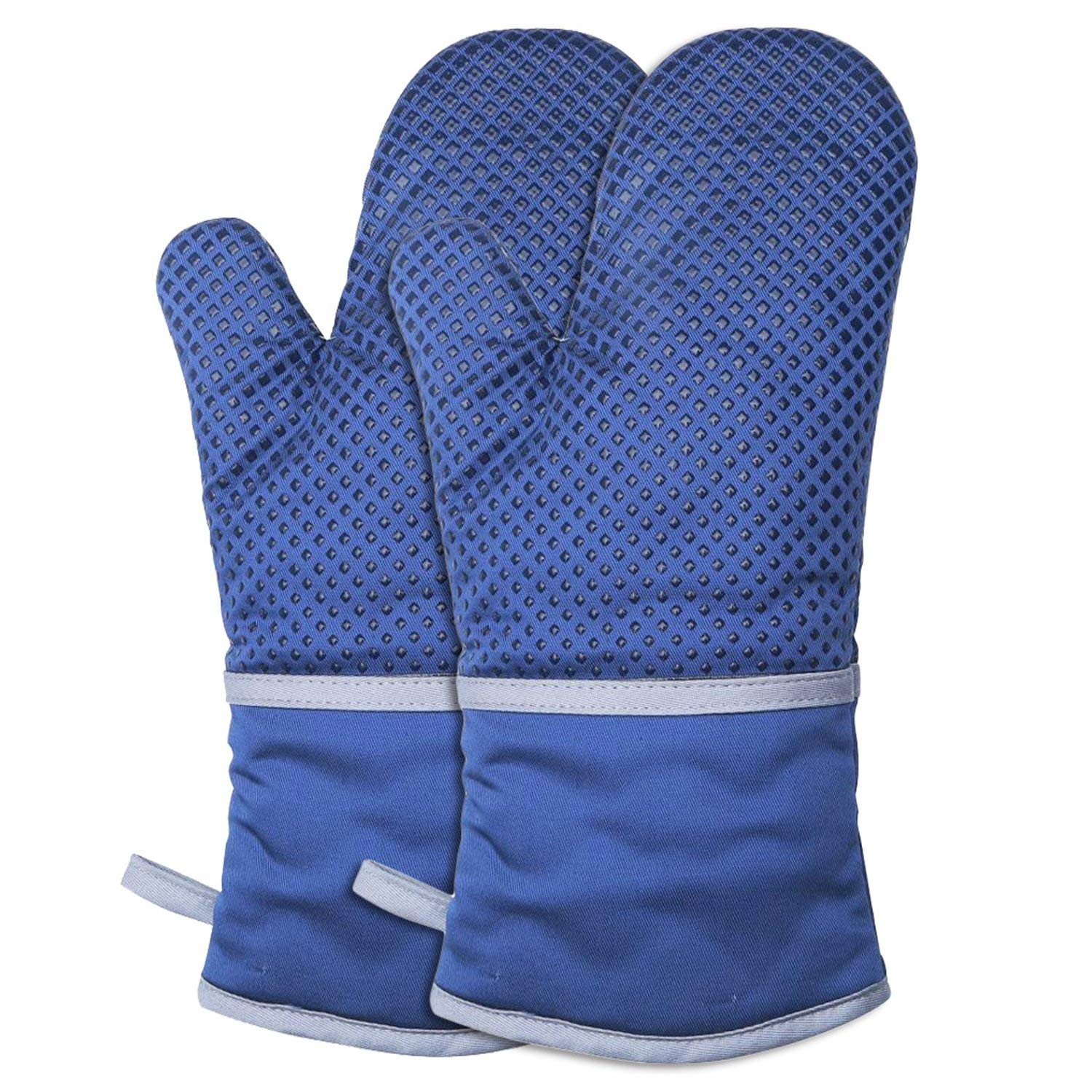 67i Oven Gloves Silicone Oven Mitts 572℉ Extreme Heat Resistant BBQ Gloves Grill Gloves, Anti-Slip Oven mitts 1 Pair of Heat Resistant Potholder Gloves Non-Slip Cotton Lining Kitchen Glove