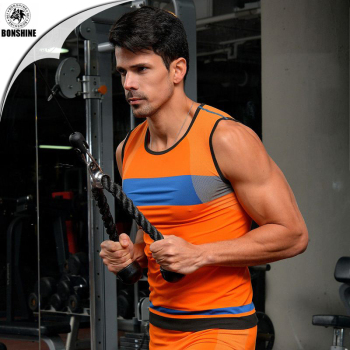 The new hit color super elasticity seamless men 's quick - drying body sculpting tights vest MA12