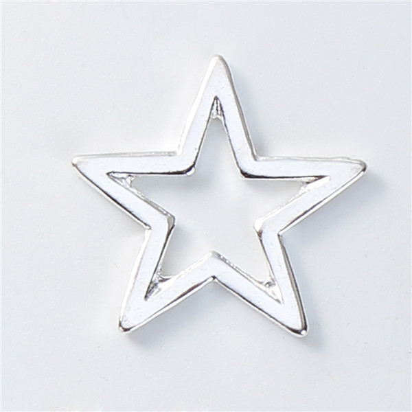 Zinc Based Alloy Connectors Pentagram Star Silver Plated Hollow Wholesale Jewelry Connector