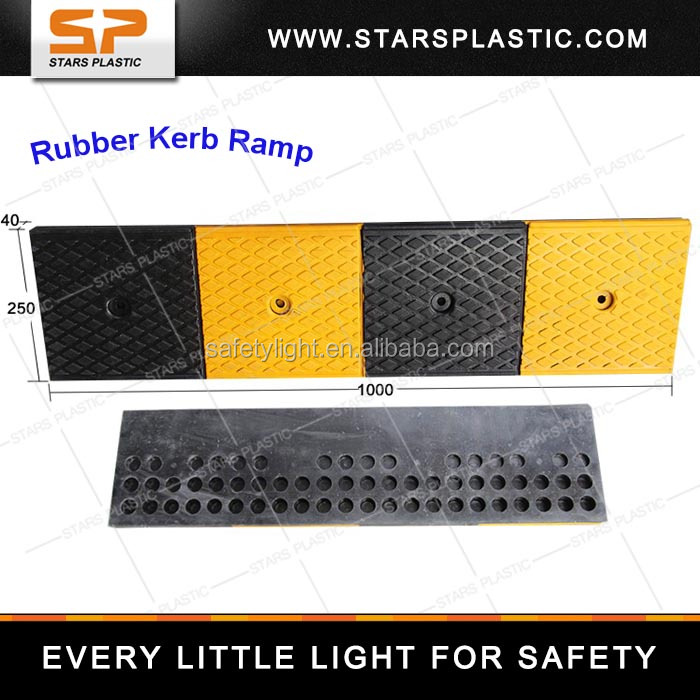 Black & Yellow Color Made In Rubber Meterial Traffic Road Safety Kerb Ramp KR-A75--13/16 Series