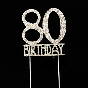 Cheap Items To Sell 80th Birthday Rhinestone Cake Topper