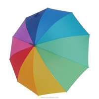 Manual open rainbow fashion long umbrella with 10 ribs