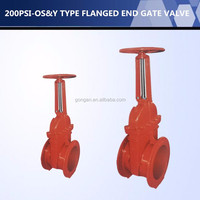 HIGH QUALITY UL FM Approved 200PSI Y TYPE FLANGED END Fire Fighting GATE VALVE