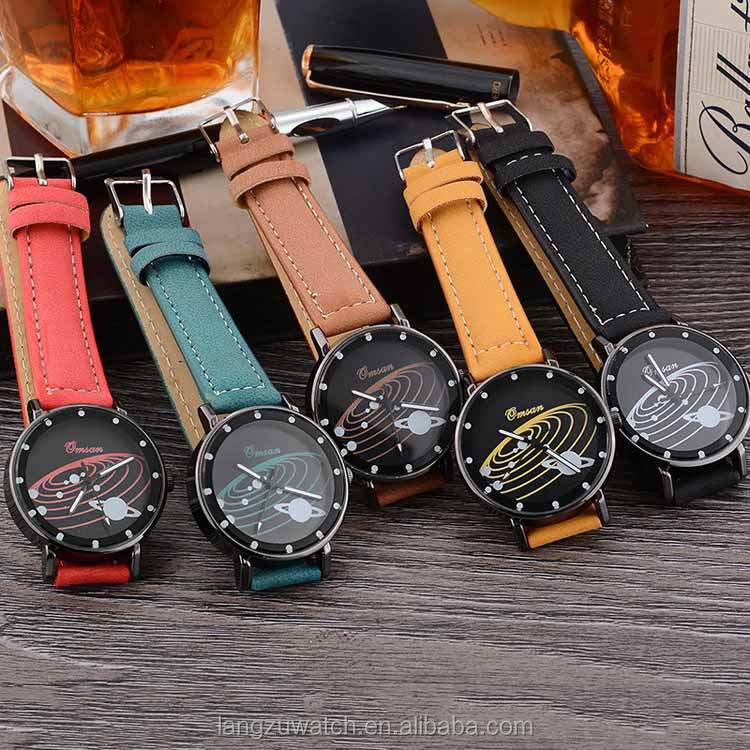 wholesale multicolor watch with beautiful orbiter pattern dial design your own logo watch