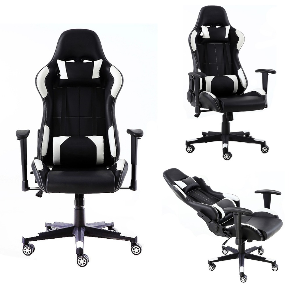 Game Computer Office Chairs Racing Seat Black and White PVC Gaming Chair