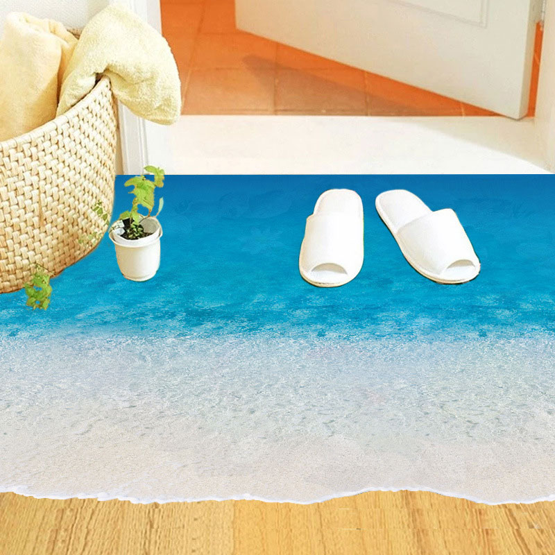 Fashion Home Decor 3D Floor Sticker Blue Sandy Beach Pattern For Kids Living Room Mural Art Decals Wallpaper Decoration 50*70 CM