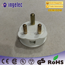 Top Quality Pure-Solid-Pin Brass 3 Pin 15A Plug for Switch