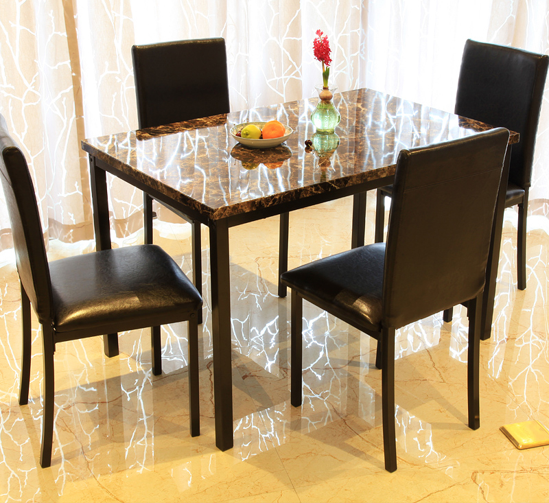 Faux Marble Top Dinette Sets Restaurant Bistro Dining Table 4 Chairs Sets  Manufacturer - Buy Dinette Sets,Marble Dining Table Sets,Dining Room ...