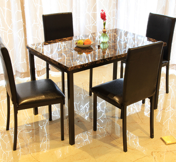 Faux Marble Top Dinette Sets Restaurant Bistro Dining Table 4