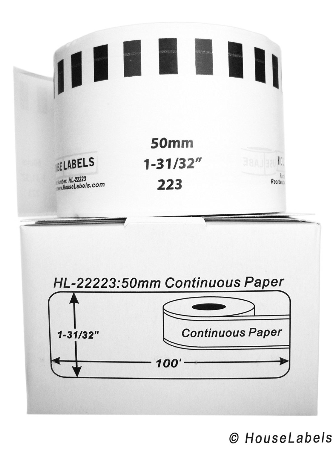 "100 Rolls; Continuous Paper, BROTHER-Compatible DK-2223 Continuous Paper Labels (1-31/32"" x 100'; 50mm30.48m) -- BPA Free!"