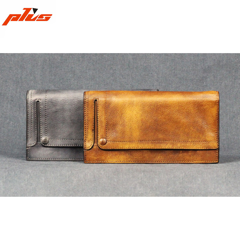 Vintage Long Wallet Mens Imported Itay Genuine Leather Handmade Leather Wallet