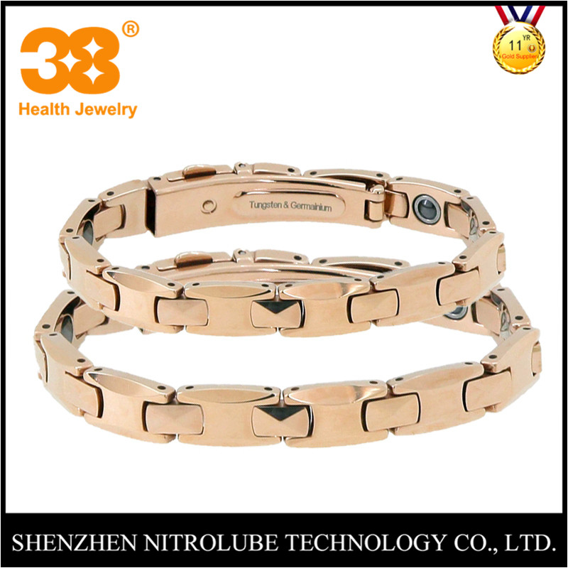 Korean Japan Rose gold SGS 99.999 % 8mm 10mm tungsten germanium couple lover bracelet for health