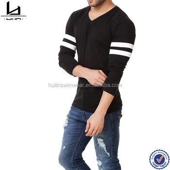 494095330d 2017 new design basketball men t shirt v neckline full sleeves black plain  t-shirts