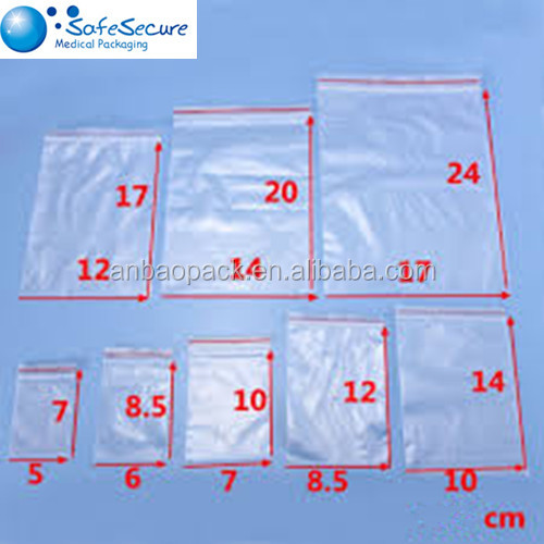 Heat Sale Big PE Clear Resealable Zip lock Plastic Bag Pouch for Food&Jewelry Packing