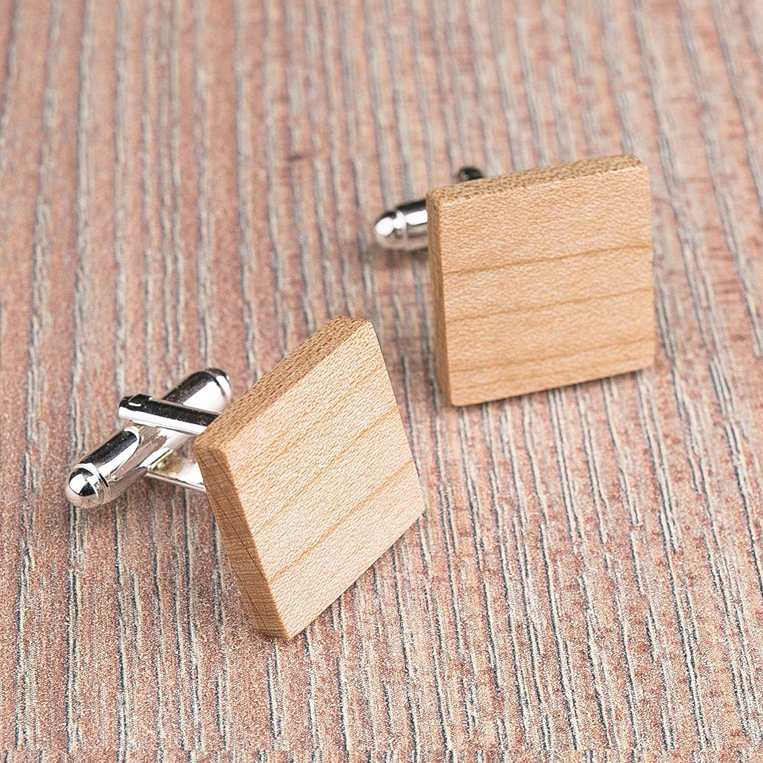 Wood cufflinks. Square cufflinks. Custom personalized initial monogram cufflinks. Natural Maple wood engraved jewelry for men. Boss present. Wedding groomsmen groom gifts