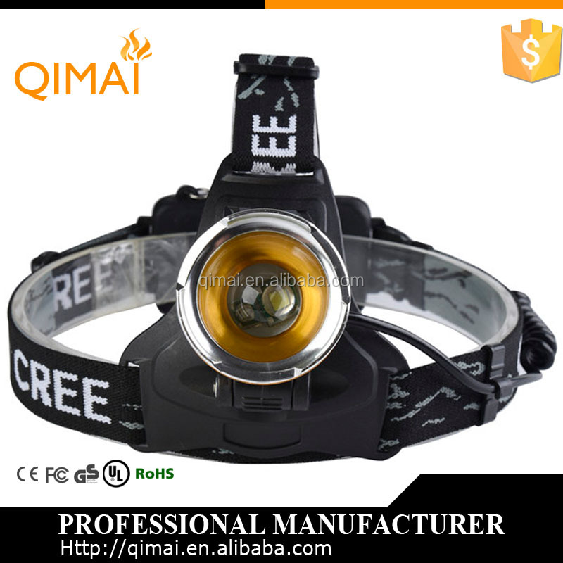 Qimai XML-T6+XPE blue light led headlamp rechargeable mining light charger mining torch