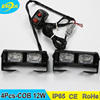 Factory 4Pcs COB 12W IP65 grille mount mini flare COB warning lights with 7 flash patterns