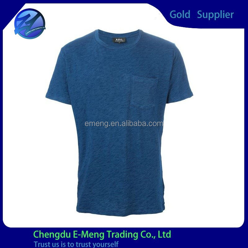 Short Sleeves O-neck Plain Soft 100% Combed Cotton Tshirts with Pocket