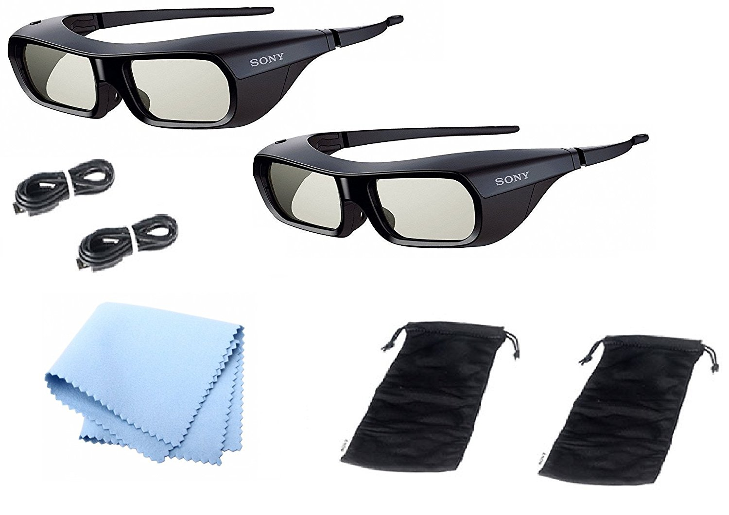 2 x Sony TDG-BR250/B Rechargeable 3D Adult Glasses, Black With Cleaning Cloth