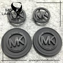 Custom MK metal logo round tag label with rubber label for handbags