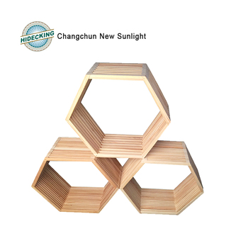Hexagon Wood Cross Frame Wall Decoration With Natural Colour - Buy ...