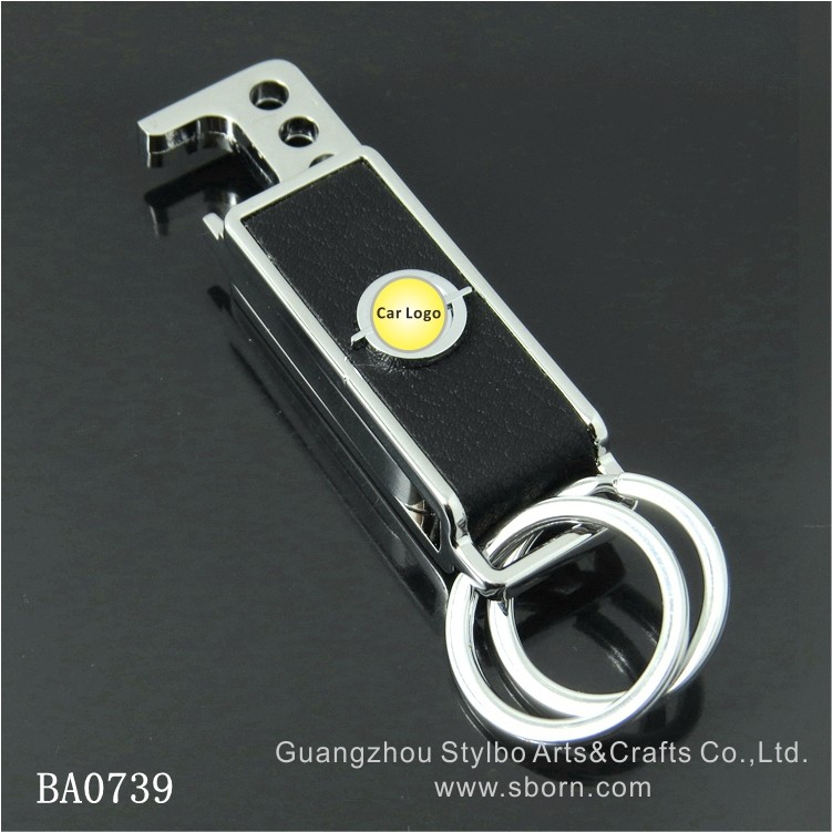 Popular China wholesale metal car logo keychain with leather