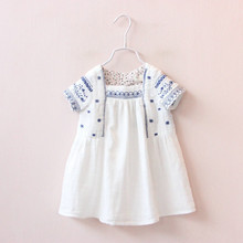 Y1640834 Retail 2016 Fashion Summer Baby Girls Dresses Solid Embroidery Girl Princess Dress Casual Girl Clothes