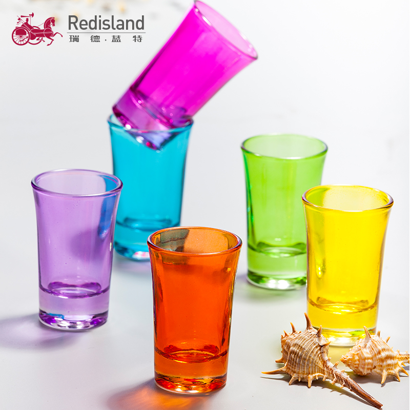 Spray color shot glass design glass cup