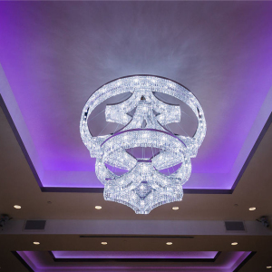 Modern large flush mount crystal chandelier for hotel project