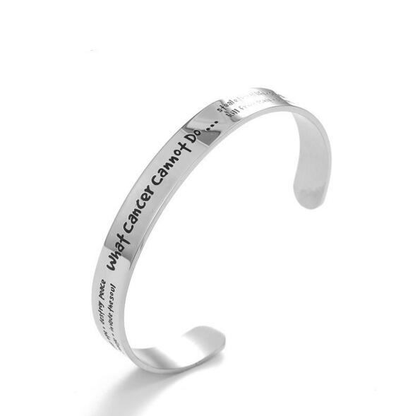 MS015 Yiwu Huilin Jewelry What cancer cannot do Stainless Steel Cuff Awarness Open Bangle Bracelet