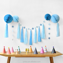 Blue Series Birthday Baby Shower Party Background, Paper Honeycomb Balls, Star Bunting, Tassel Garland