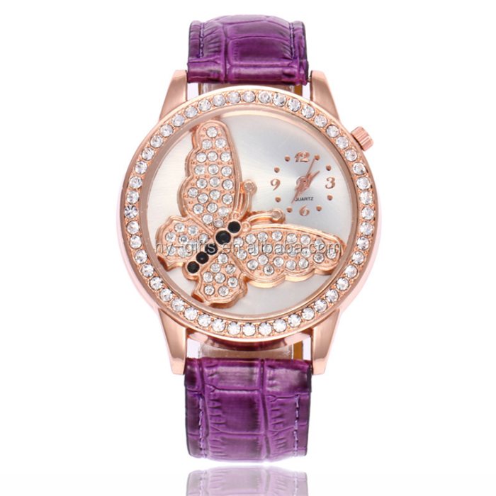 funcy design waterproof spring lady watch cute pearl butterfly quartz watch