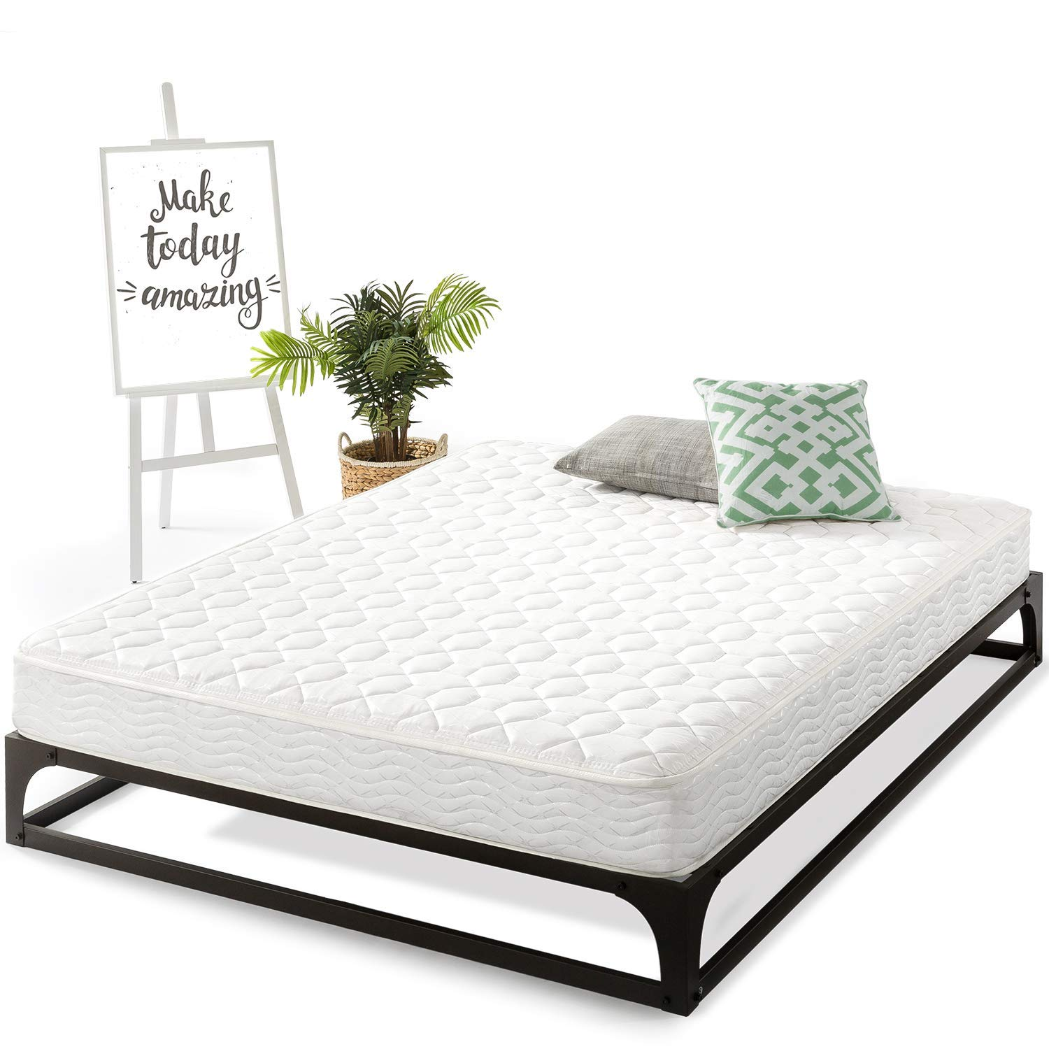 Best Price Mattress Twin Mattress - 8 Inch Hybrid Spring Mattresses Infused with Green Tea, Twin Size
