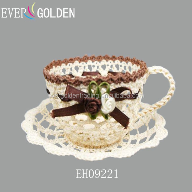 cotton hand knitted crochet lace tea cup and saucer decorative sundries storage tray gift candy pakaging tray