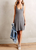 Wholesale OEM Summer Rayon Spandex Large V Back Contrast Soulder Straps Lady Girls Sexy Grey Jersey Night Sleeping Slip Dress