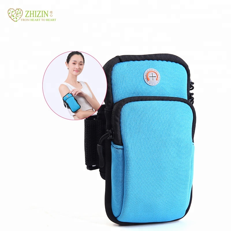 ZHIZIN Neoprene multi-color smart running arm bag high quality mobile phone bag, Blue/pink/green/black or customized color
