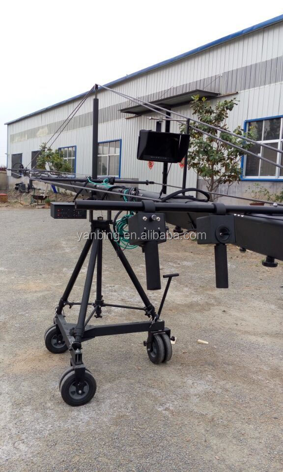 Broadcast TV filming photo camera triangle jimmy jib crane 12m with 2 axis motorized head