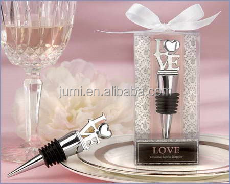 """LOVE"" Chrome Bottle Stopper presentes do retorno da porta do favor do casamento lembrança para os hóspedes"