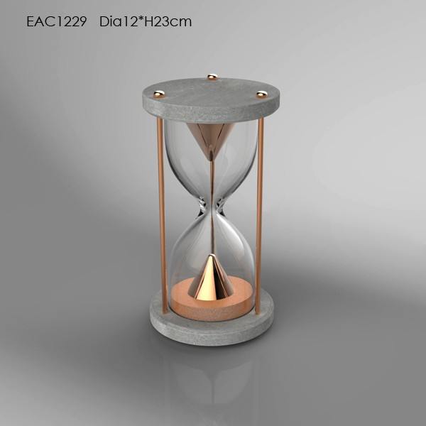 Decorative cement home decoration items concrete base glass sand timer