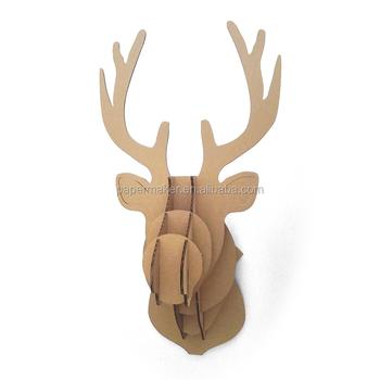 3D Paper Deer Head Wall Hanger Christmas Moose