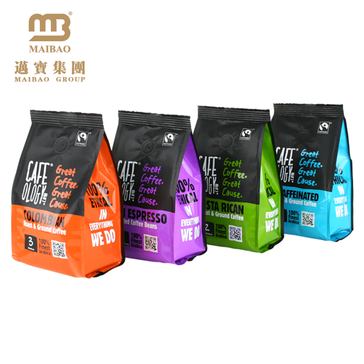Durable High-Grade Food Packaging Custom Printing Different Types Of Plastic Side Gusset Bag For Coffee Bean Packaging