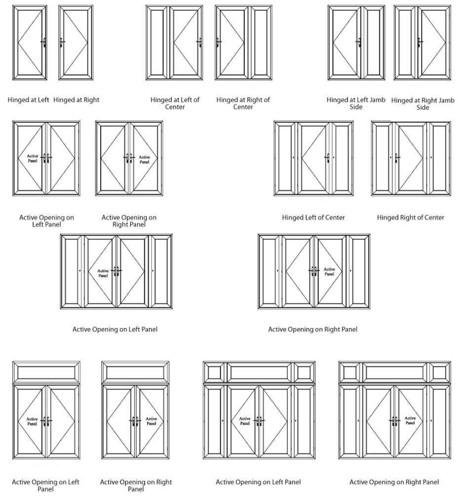 product-Aluminum Frame Powder Coating Interior Double French Swing DoorWith Grilles forSale-Zhongtai-1