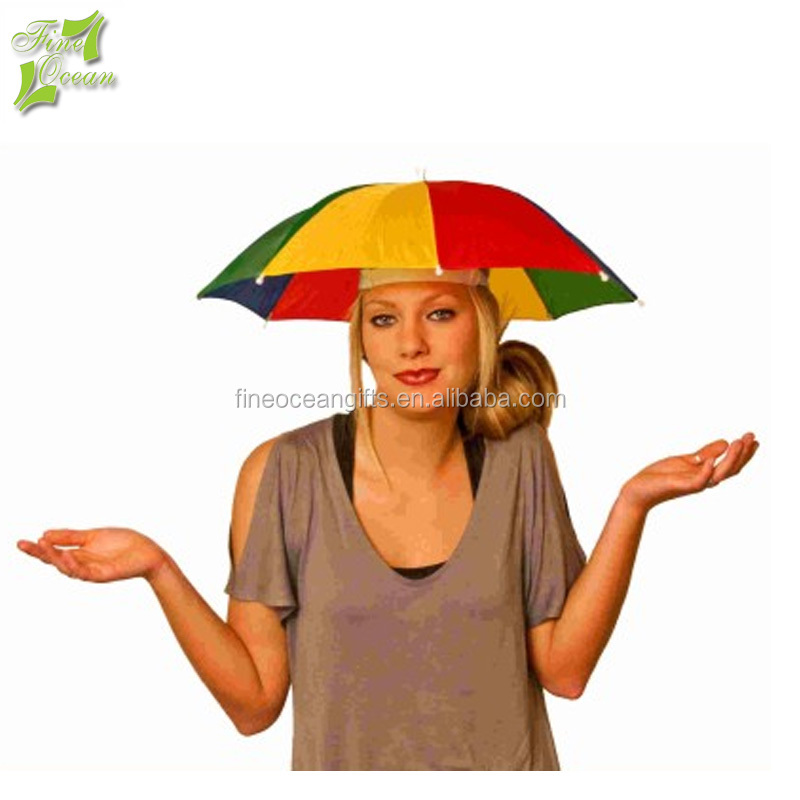 Wholesale custom promotion mini sport hard sun shape logo printed umbrella hat for adult