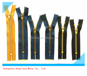 5# close end gold metal zipper with YG spring lock slider by the pieces for jeans